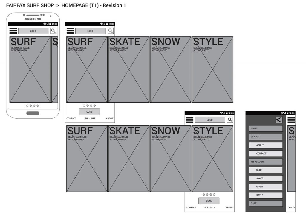 Fairfax Surf Shop prototype wireframe for smart phone homepage (2014).