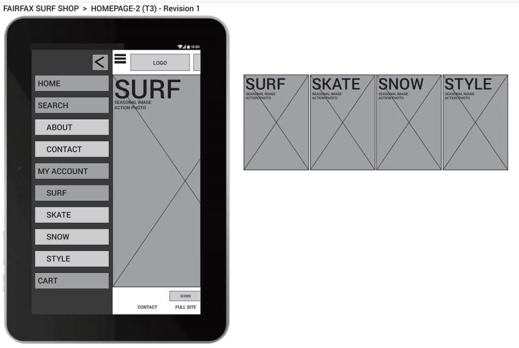 Fairfax Surf Shop prototype wireframe for tablet homepage (2014).