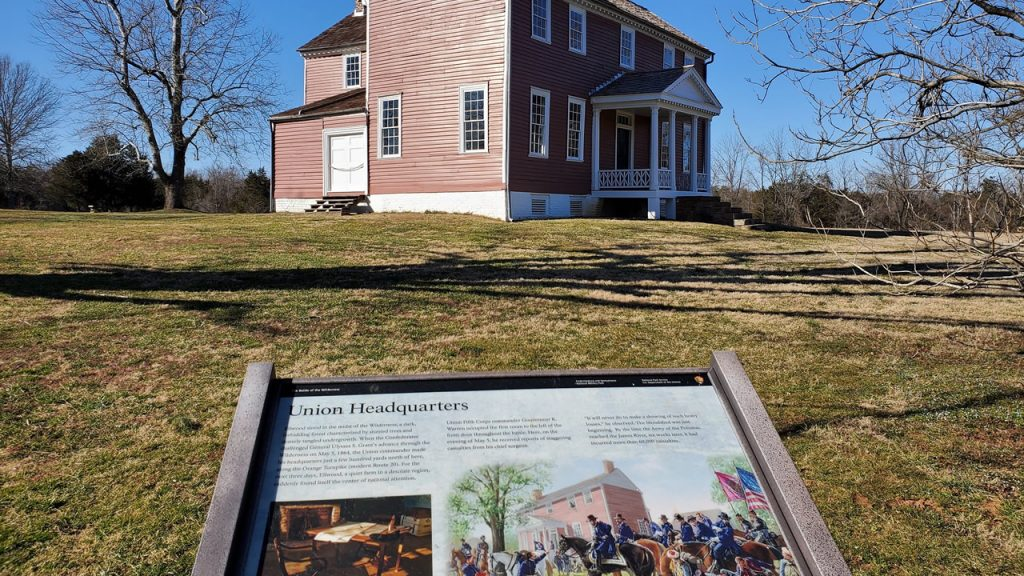 War Yankee - Overland -- The Lacy House on the Ellwood plantation served as the Union HQ during the Battle of the Wilderness, May 5-6, 1864.